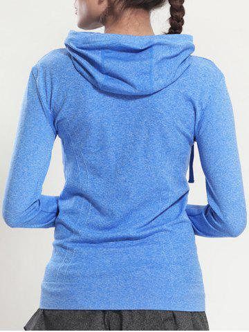 Best Quick Dry Hooded Sporty Coat - BLUE M Mobile