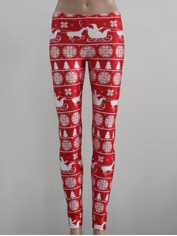 Buy Mid Rise Skinny Festival Leggings - XL RED WITH WHITE Mobile