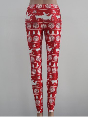 Outfit Mid Rise Skinny Festival Leggings - M RED WITH WHITE Mobile