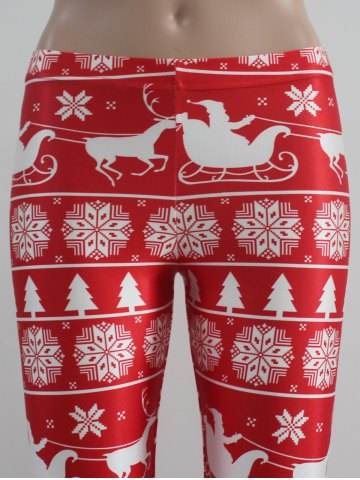 Store Mid Rise Skinny Festival Leggings - S RED WITH WHITE Mobile