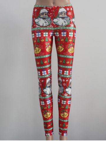 Discount Tight Fit Christmas Leggings RED L