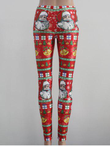 Trendy Tight Fit Christmas Leggings - M RED Mobile