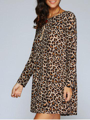 Outfit Long Sleeve Leopard Print Shift T-Shirt Dress LEOPARD L