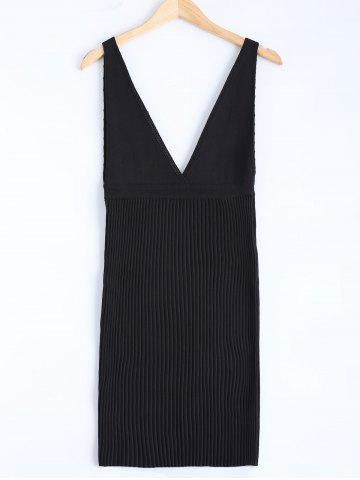 Best Sleeveless Plunging Neck Pleated Knit Dress