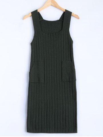 Sale Square Collar Tank Sweater Dress