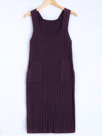 Square Collar Tank Sweater Dress - Deep Purple - One Size