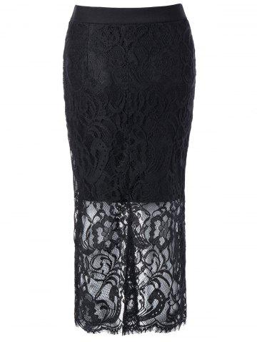 Discount High Waisted Lace Splicing Pencil Skirt
