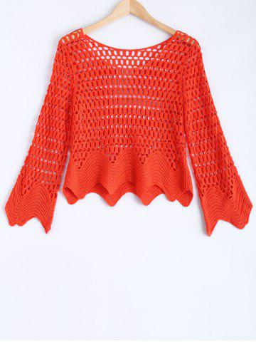 Latest Long Sleeve Hollow Out Crochet Blouse