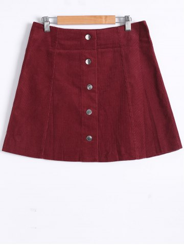 Shops Popper Button Down A Line Skirt WINE RED S
