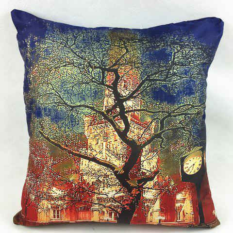 Chic Halloween Tree Buidings Double-Faced Pillowcase DEEP BLUE