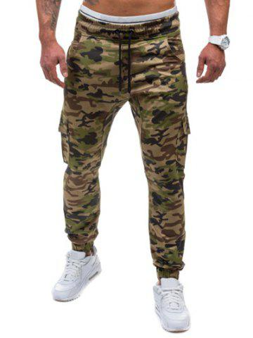 Shop Multi-Pockets Camo Print Army Jogger Pants - M GREEN Mobile