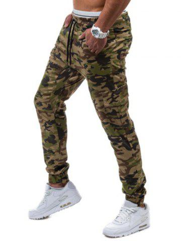 Unique Multi-Pockets Camo Print Army Jogger Pants - M GREEN Mobile