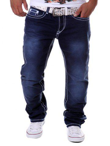 Hot Drop Crotch Loose Straight Leg Jeans DEEP BLUE 32