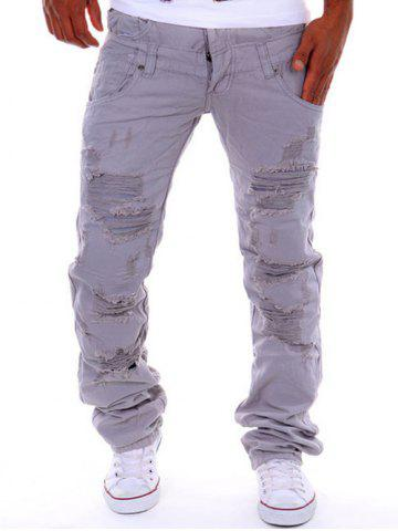 Cheap Straight Leg Double-Waist Destroyed Cargo Pants LIGHT GRAY 34
