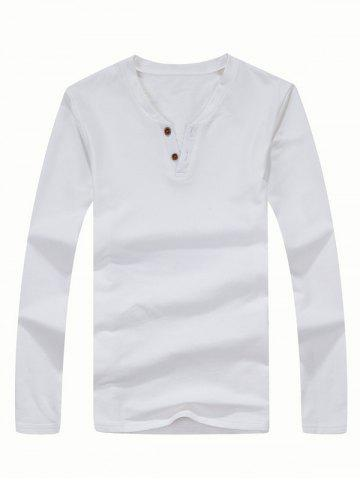 Discount Brief Style Long Sleeve Henley Shirt WHITE 3XL