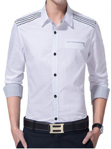 Store Slim-Fit Plaid and Striped Pattern Shirt
