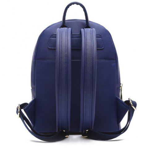 Shop Printed Embroidery Luminous Backpack - BLUE  Mobile