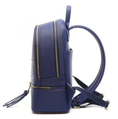 Discount Printed Embroidery Luminous Backpack - BLUE  Mobile