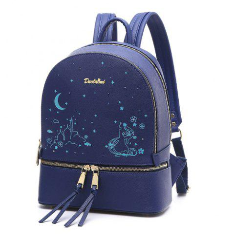 Chic Printed Embroidery Luminous Backpack - BLUE  Mobile