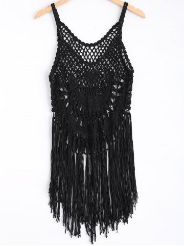 Hot Strappy Fringe Knitted One Piece Swimsuit BLACK XL