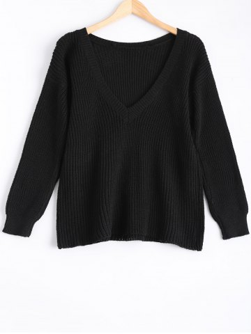 Fancy Round Neck Knitted Open Back Sweater