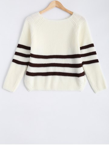 Trendy Knitted Boat Neck Stripe Sweater
