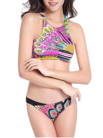Affordable High Neck Feather Print Strappy Bikini Set COLORMIX XL