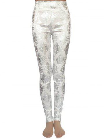 Outfit Metallic Ornate Printed Skinny High Waist Leggings - ONE SIZE OFF-WHITE Mobile