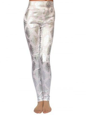 Online Metallic Ornate Printed Skinny High Waist Leggings - ONE SIZE PINK Mobile