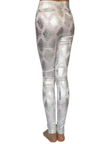 Discount Metallic Ornate Printed Skinny High Waist Leggings - ONE SIZE PINK Mobile