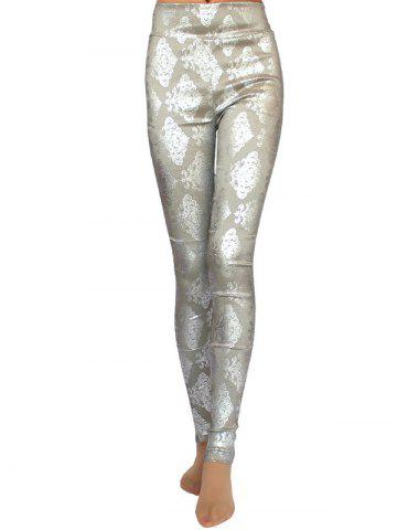 Discount Metallic Ornate Printed Skinny High Waist Leggings - ONE SIZE GRAY Mobile