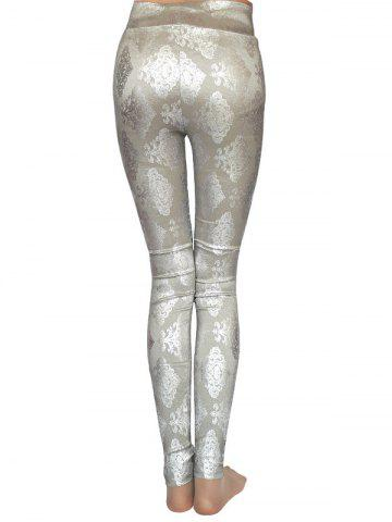 Shop Metallic Ornate Printed Skinny High Waist Leggings - ONE SIZE GRAY Mobile