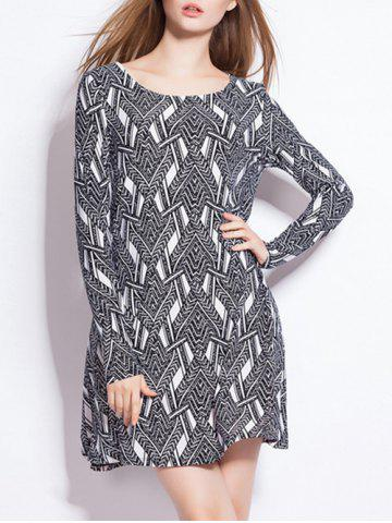Loose-Fitting Chevron Print Long Sleeve Mini Dress