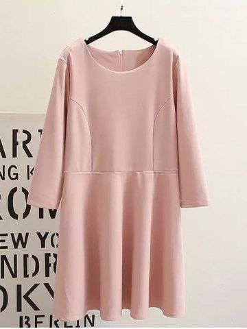 Hot Plus Size Long Sleeves Ruffled Dress