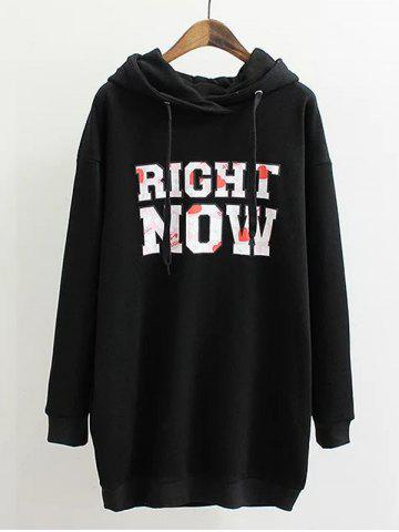 Trendy Plus Size Letter Print Long Hoodie