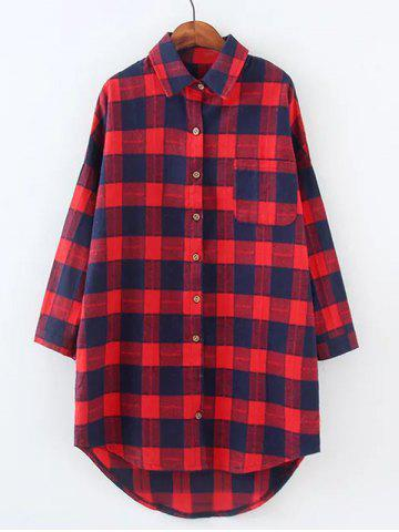 Sale Plus Size High Low Checkered Print Shirt RED 4XL