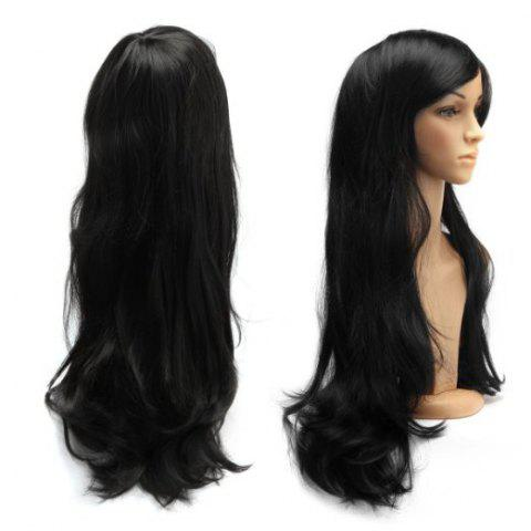 Outfits Long Slightly Curled Side Bang Parrucca Piena Cosplay Synthetic Wig BLACK