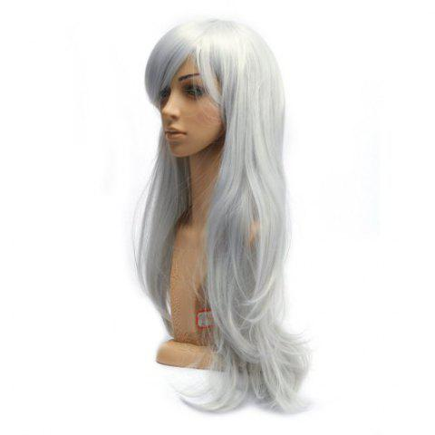Hot Long Slightly Curled Side Bang Parrucca Piena Cosplay Synthetic Wig - SILVER WHITE  Mobile