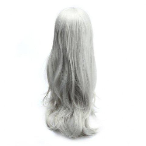 Fashion Long Slightly Curled Side Bang Parrucca Piena Cosplay Synthetic Wig - SILVER WHITE  Mobile
