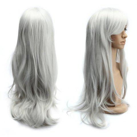 Buy Long Slightly Curled Side Bang Parrucca Piena Cosplay Synthetic Wig SILVER WHITE