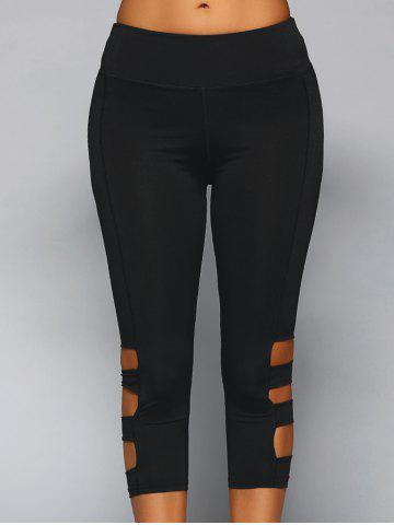Cheap Elastic Waist Cut Out Skinny Pants BLACK L