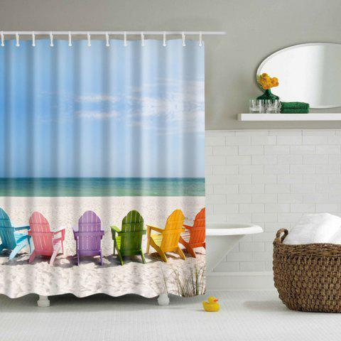 Affordable 3D Beach Pattern Printed Mouldproof Polyester Shower Curtain - L COLORMIX Mobile