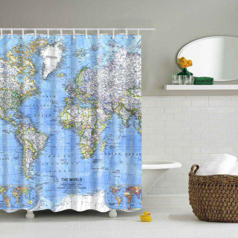 Discount World Map Printed Polyester Waterproof  Shower Curtain