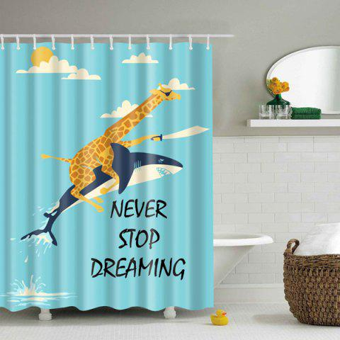 Chic Never Stop Dreaming Cartoon Polyester Shower Curtain