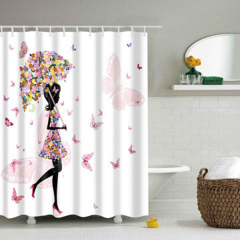 Fancy Floral Butterfly Beauty Design Polyester Shower Curtain