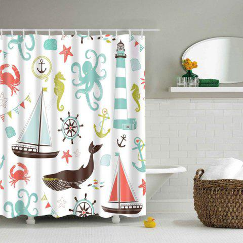 Fashion Waterproof  Marine Product Cartoon Printed Shower Curtain - S COLORMIX Mobile