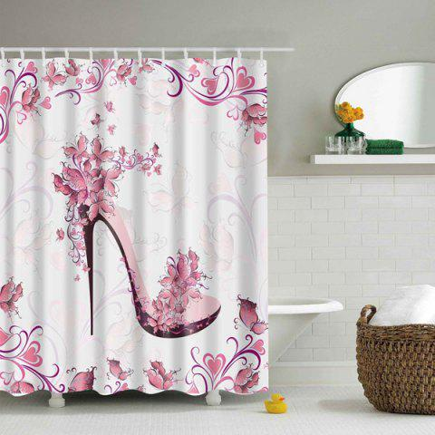 Outfits Waterproof Printing Floral High Heeled Shoes Shower Curtain PINK M