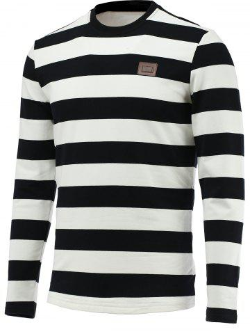 Unique Long Sleeve Round Collar Striped Tee BLACK L