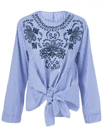 Buy Ethnic Print Striped Tie Blouse