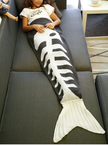 Super Soft Fish Bone Design Knitted Mermaid Tail Blanket - Grey And White - L